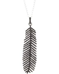 Adornia Sterling Silver Pave Black Spinel Feather Pendant Necklace