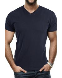 Xray Jeans Solid V-neck Flex T-shirt - Blue