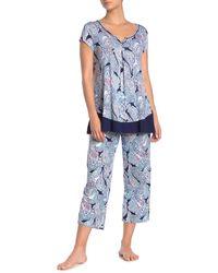 Ellen Tracy Paisley Jersey Knit Pj Pants - Blue