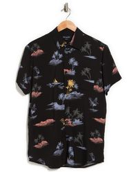 Barney Cools Black Island Patterned Short Sleeve Shirt