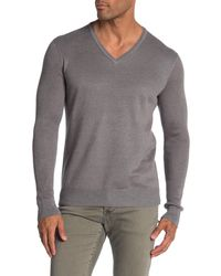 John Varvatos V-neck Ribbed Knit Sweater - Gray