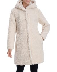 Lucky Brand Hooded Faux Teddy Fur Coat - Multicolor