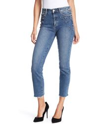 PAIGE - Jacqueline High Waist Ankle Straight Leg Jeans (naveen Embellished) - Lyst