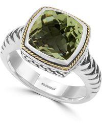 Effy Sterling Silver & 18k Gold Cushion Cut Green Amethyst Ring - Size 7