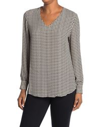 Adrianna Papell Houndstooth Print Woven Wash Crepe Top - Black