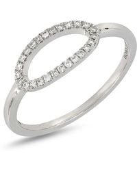 Bony Levy - 18k White Gold Diamond Detail Open Oval Ring - 0.10 Ctw - Lyst