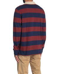 Eddie Bauer Stripe Long Sleeve Rugby Polo - Orange