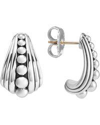 Lagos Sterling Silver Fluted Caviar Half Hoop Earrings - Metallic