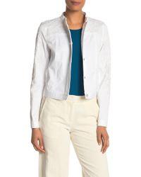 Elie Tahari Esperanza Faux Leather Bead Detailed Jacket