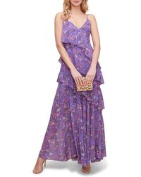 Astr Tiered Floral Maxi Dress - Purple