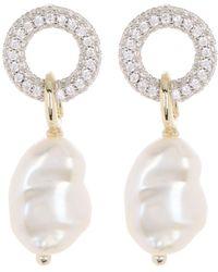 Carolee River Pave Cz Keshi Pearl Drop Earrings - White
