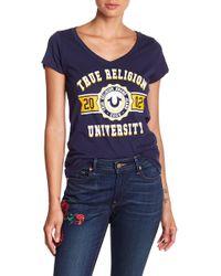 True Religion - Collegiate Logo Tee - Lyst