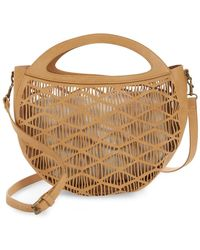 BP. Perforated Faux Leather Crossbody Canteen Bag - Brown