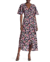 Bobeau Floral Wrap Maxi Dress (regular & Petite) - Blue