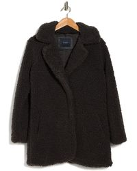 Lucky Brand Faux Shearling Snap Button Coat - Black
