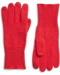 Halogen Halogen Rib Knit Cashmere Gloves - Red