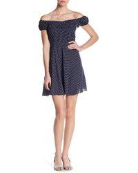 Soprano - Off-the-shoulder Woven Dot Print Skater Dress - Lyst