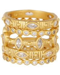 Freida Rothman - 14k Yellow Gold Plated Sterling Silver Amazonian Allure Stacking Rings Set - Size 5 - Lyst