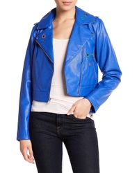 Sam Edelman - Faux Leather Metal Eyelet Moto Jacket - Lyst