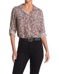Velvet Heart Elisa Safari Leopard Button Front Shirt - White