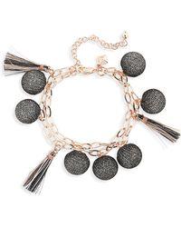 Rebecca Minkoff - Double Strand Pompom Bracelet - Lyst