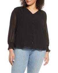 1.STATE Smocked Detail Button-up Shirt - Black