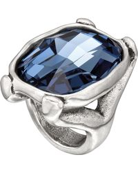 Uno De 50 - Hold On Cushion Cut Faceted Blue Swarovski Crystal Ring - Lyst