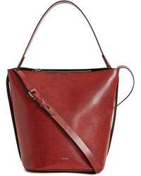 Reiss Hudson Lizard Embossed Bucket Bag - Red