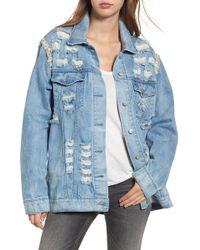 Love, Fire - Embellished Ripped Denim Jacket - Lyst