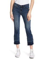 Nicole Miller - Tribeca Released Fray Hem Straight Leg Jeans - Lyst