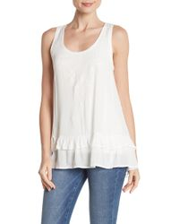 Democracy Embroidered Tie Back Tank - White