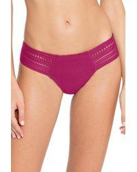 Robin Piccone Perla Crochet Hipster Bikini Bottoms - Purple