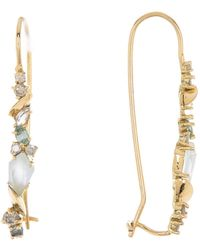 Alexis Bittar 18k Yellow Gold Semi-precious Stone & Diamond Accent Wire Hoop Earrings - Metallic