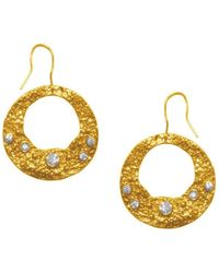 Karine Sultan 24k Yellow Gold Plated Lace Texture Drop Earrings - Metallic