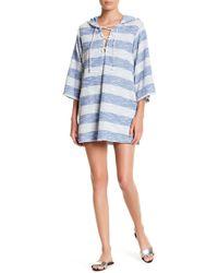 J Valdi Knit Stripe Hooded Tunic - Blue