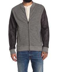 Jason Scott Charles Leather Sleeve Bomber Jacket - Gray