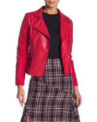 Gracia Double Zip Pocket Faux Leather Jacket - Red