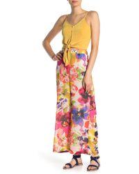 Eci Floral Printed Pants - Brown