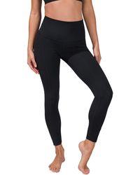 90 Degrees Superflex High Rise Elastic Free Pocket Ankle Leggings - Black
