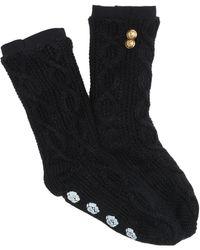 Felina Elastic Cuff Non-skid Slipper Socks - Black