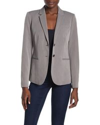 Magaschoni Long Sleeve Notch Collar Two Button Blazer - Gray