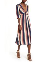 Leith Deep V-neck Stripe Midi Dress - Blue