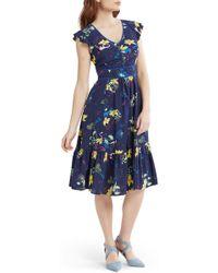 ModCloth Print Fit & Flare Dress (regular & Plus Size) - Blue