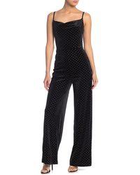Love, Fire Studded Velvet Jumpsuit - Black