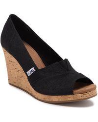TOMS Classic Wedge Sandal - Black