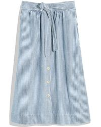 Madewell Tie Palisade Pilar Stripe Button Front Midi Skirt (regular & Plus Size) - Blue