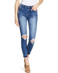 Kensie Distressed Skinny Jeans - Blue