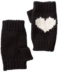 BCBGMAXAZRIA Heart Fingerless Knit Gloves