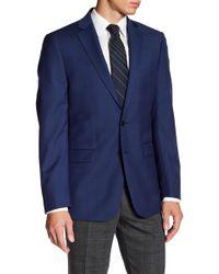 Calvin Klein - Solid Blue Wool Suit Jacket - Lyst