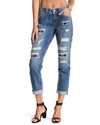 Miss Me - Torn Plaid Patch Boyfriend Ankle Jeans - Lyst